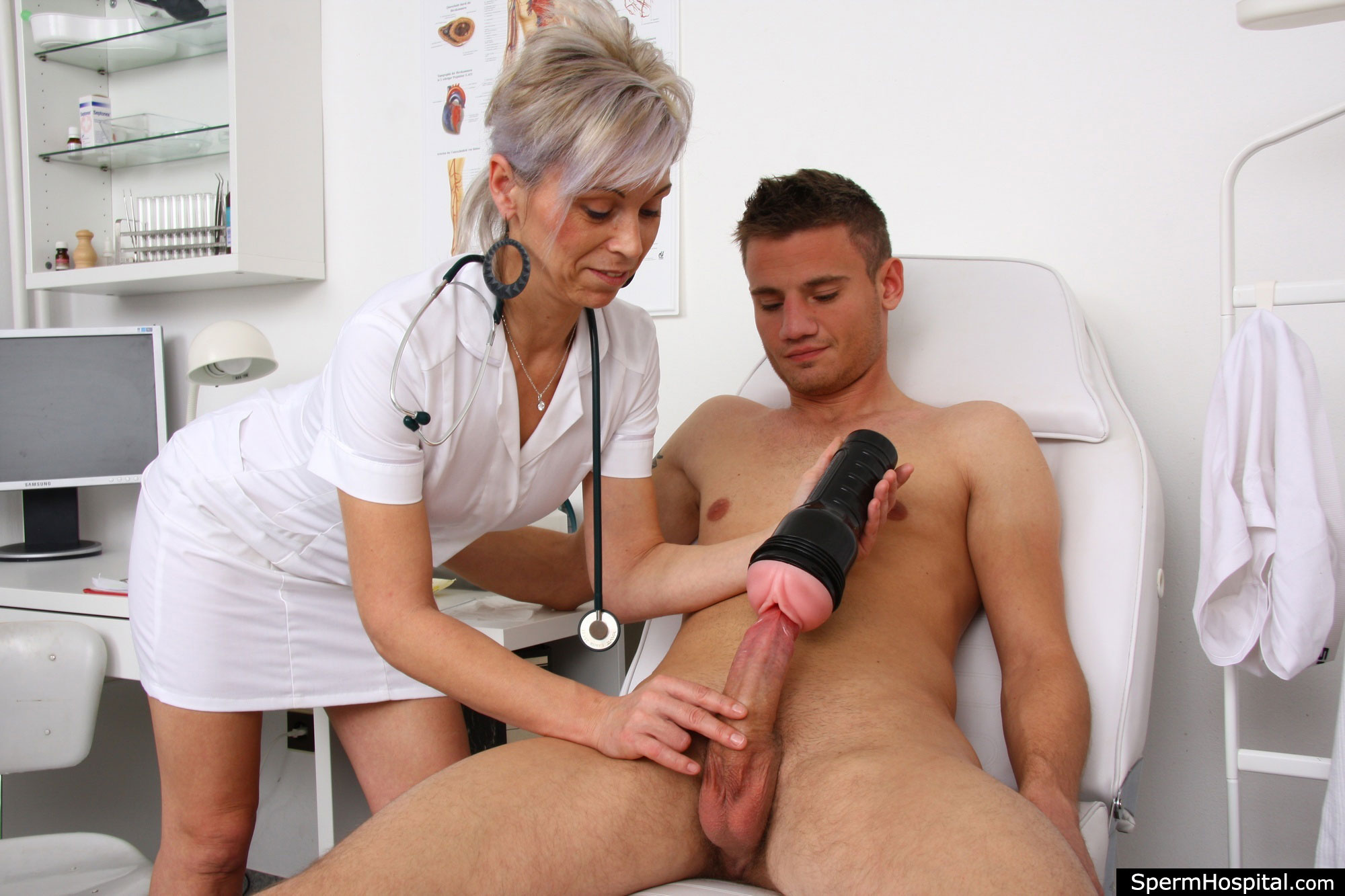 Watch cfnm nurses sucking and jerking off hard dick